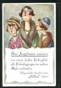 AK Drei Jungfrauen träumen..., Scherz