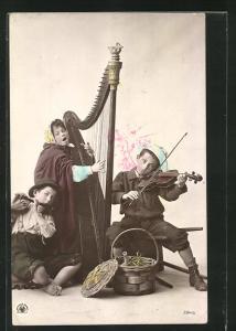 AK Kindermusikanten mit Harfe