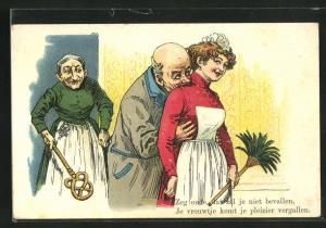 AK Ehefrau mit Teppichklopfer erwischt ihren Mann und das Dienstmädchen