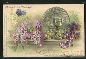 Duft-AK Weinglas mit Weintrauben und Schmetterlingen