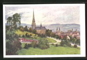 Künstler-AK Hans Götzinger: Linz, Blick vom Bauernberg