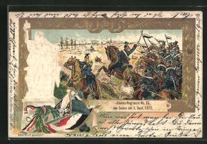 Lithographie Reichseinigungskriege, Ulanen-Regiment Nr. 10 bei Sedan