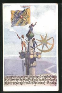 Künstler-AK Richard Assmann: Freiheitskämpfer bringen türkischen Stern auf einer Turmspitze an
