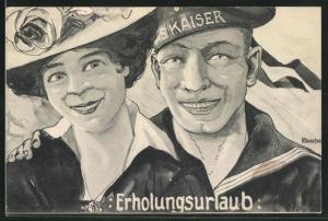 Künstler-AK K. Blossfeld: Erholungsurlaub, Matrose in Uniform mit Mützenband und Frau