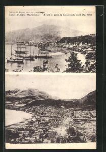 AK Saint-Piuerre, Avant et après la Catastrophe du 8 Mai 1902, vor und nach Vulkanausbruch