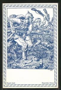 Künstler-AK Angelo Jank: Bayerische Löwen, Infanterie-Sturmangriff