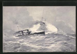 Künstler-AK Willy Stoewer: Torpedoboots-Angriff in der Nordsee