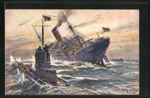 Künstler-AK Willy Stoewer: Kolonialkriegerdank, Vernichtung eines engl. Handelsdampfers durch ein deutsches Unterseeboot