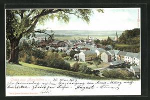 AK Amstetten, Ortsansicht von Anhöhe aus mit Kirchtürmen und Landschaft