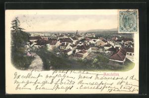 AK Amstetten, Ortsansicht von Weg aus über Häuser und Kirche