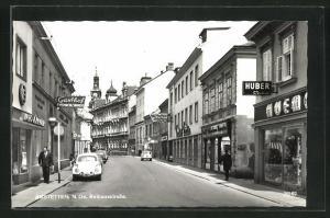 AK Amstetten, Rathausstrasse mit Geschäftsfassaden, Gasthof, Hotel