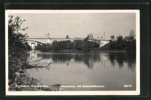 AK Amstetten, Ybbsbrücke mit Elektrizitätswerk