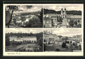 AK Amstetten, Ortsansicht, Krankenhaus, platz und Bahnhofstrasse