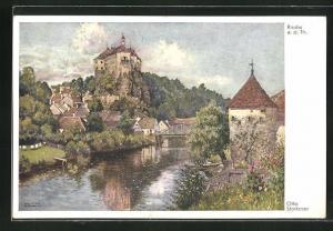 Künstler-AK Raabs a. d. thaya, Ortsansicht mit Fluss und Schloss