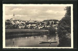 AK Waidhofen a. d. Thaya, Blick vom Flussufer zum Ort