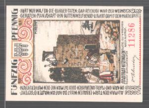 Notgeld Kitzingen 1921, 50 Pfennig, Burgturm, Uhrturm