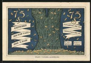 Notgeld Kahla 1921, 75 Pfennig, Geldscheine fallen vom Baum, der deutsche Merkur