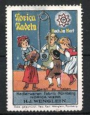 Reklamemarke Norica-Nadeln der Firma Wenglein, Nürnberg, Kinder tanzen um Nadel