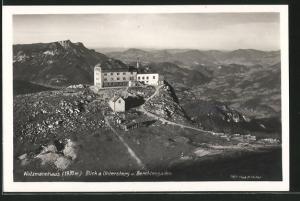 AK Watzmannhaus, Blick a. Untersberg und Berchtesgaden, Berghütte