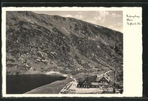 AK Teichbaude (Baude am kleinen Teich), Totalansicht mit Teich