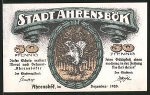 Notgeld Ahrensbök 1920, 50 Pfennig, Eule, Ortsansicht