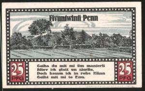 Notgeld Ahrensbök 1920, 25 Pfennig, Heiligenbild, Ortsmotiv