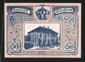 Notgeld Aistersheim in Ober-Österreich 1920, 30 Heller, Stadtwappen und Schule