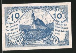 Notgeld Engelhartszell 1920, 10 Heller, Kirche, Stadtwappen