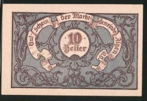 Notgeld Aigen in Ober-Österreich, 10 Heller, Rathaus