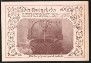 Notgeld Kremsmünster 1920, 50 Heller, Eichentor, Marktbrunnen