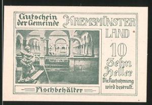 Notgeld Kremsmünster 1920, 10 Heller, Fischbehälter, Ortsmotiv