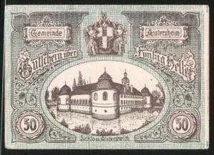 Notgeld Aistersheim 1921, 50 Heller, Schloss Aistersheim und Stadtwappen