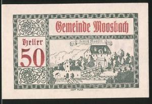 Notgeld Moosbach 1920, 50 Heller, Schloss Daasen, Stadtwappen