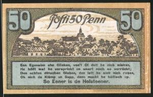 Notgeld Ahrensbök 1920, 50 Pfennig, Eule, Ortsmotiv