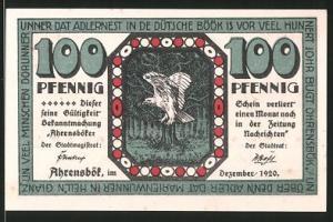 Notgeld Ahrensbök 1920, 100 Pfennig, Eule, Ortsmotiv