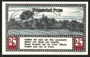 Notgeld Ahrensbök 1920, 25 Pfennig, Ortsmotiv, Heiligenbild