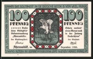 Notgeld Ahrensbök 1920, 100 Pfennig, Eule im Wald, Ortsansicht mit Windmühle