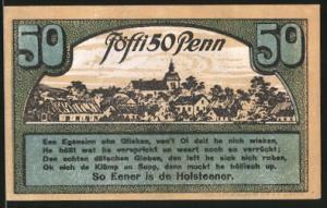 Notgeld Ahrensbök 1920, 50 Pfennig, Ortsmotiv, Eule im Wald