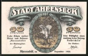 Notgeld Ahrensbök 1920, 50 Pfennig, Eule im Wald, Ortsansicht