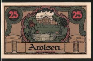 Notgeld Arolsen 1921, 25 Pfennig, Schlossmotiv, Stadtwappen