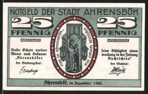Notgeld Ahrensbök 1920, 25 Pfennig, Heiligenbild, Ortsansicht