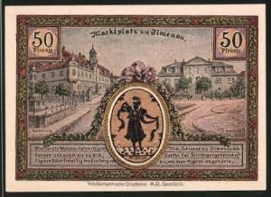 Notgeld Ilmenau 1921, 50 Pfennig, Turm auf den Kickelhahn, Marktplatz