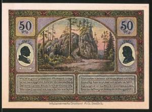 Notgeld Ilmenau 1921, 50 Pfennig, Turm auf dem Kickelhahn, Grosser Hermannstein