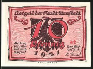 Notgeld Arnstadt 1921, 10 Pfennig, Adler, Männer im Gespräch