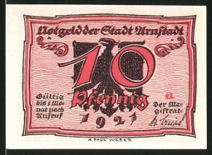 Notgeld Arnstadt 1921, 10 Pfennig, Adler, Frauen im Gespräch