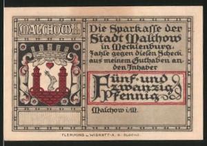 Notgeld Malchow in Mecklenburg, 25 Pfennig, Stadtwappen, Ortsmotiv