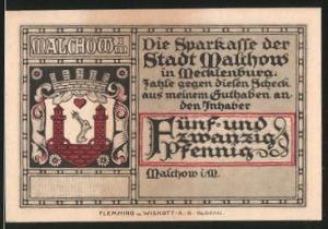 Notgeld Malchow in Mecklenburg, 25 Pfennig, Stadtwappen, Stadt und Kloster