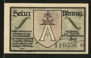 Notgeld Arolsen 1921, 10 Pfennig, Stadtwappen, Ortsmotiv