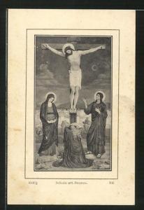 Heiligenbild Jesus am Kreuz von Heiligen flankiert, Busoduci 1913