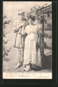 AK Liebespaar mit Blumen im Haar